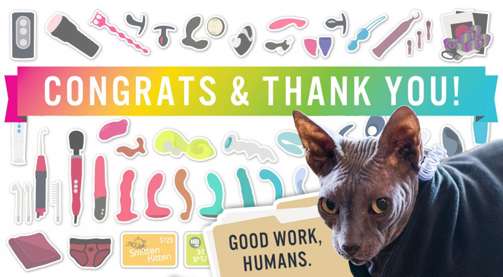 """Congrats & thank you for entering my giveaway! Graphic of sex toy prizes and Boris in the corner saying """"good work, human."""""""