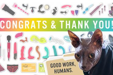 "Congrats & thank you for entering my giveaway! Graphic of sex toy prizes and Boris in the corner saying ""good work, human."""