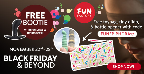 Free Bootie butt plug with orders $129.99+ at Fun Factory, plus free toybag, tiny dildo, and bottle opener!