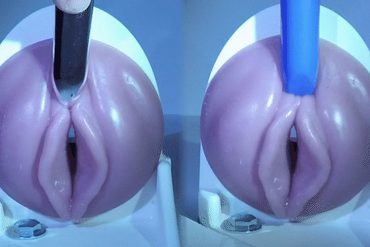 Two Fleshlights (with vulvas) side by side, with a vibe on each clit.
