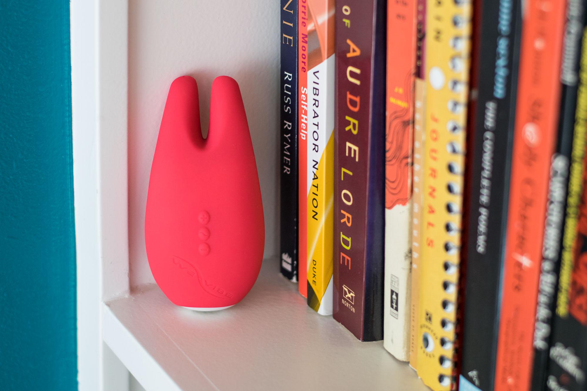 We-Vibe Gala on a bookshelf.