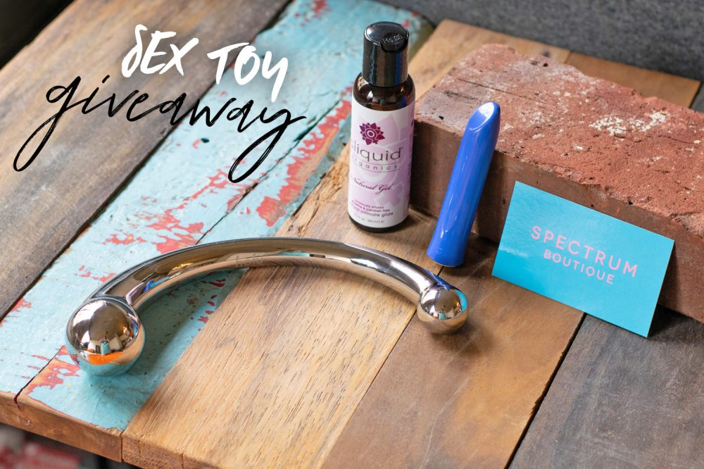 Sex toy giveaway, featuring the njoy Pure Wand, We-Vibe Tango, and Sliquid lube