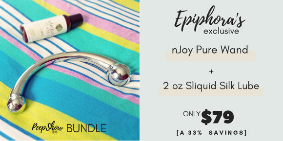 Epiphora's exclusive njoy Pure Wand + Sliquid Silk lube bundle, only $79!