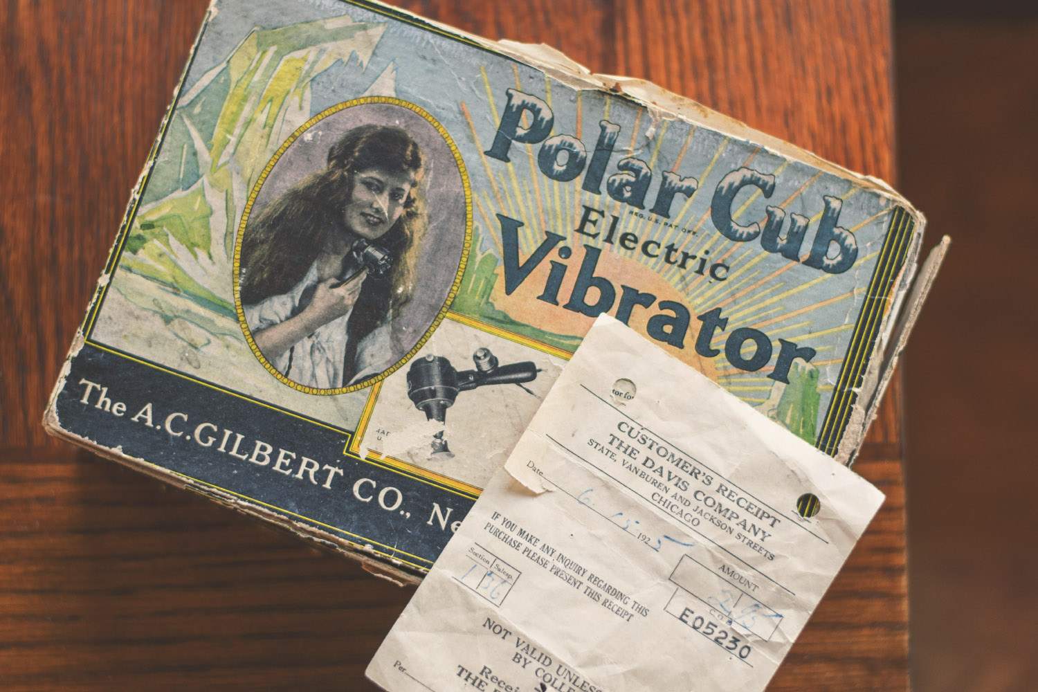 Box for the Polar Cub Electric Vibrator, with original receipt dated June 15th, 1925 in the amount of $2.95.