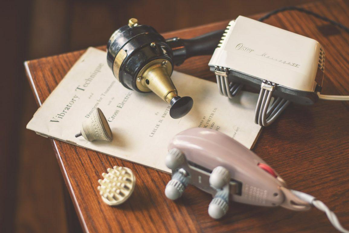 Vintage vibrators: the Polar Cub Electric Vibrator (top), Oster Massagett, and Vanguard Vibro-Massager.