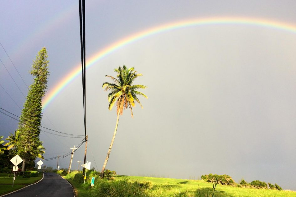 Double rainbow in Hana, Maui, the morning after this interview.
