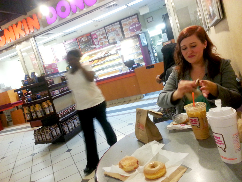 My new friend Kayla at Dunkin' Donuts.