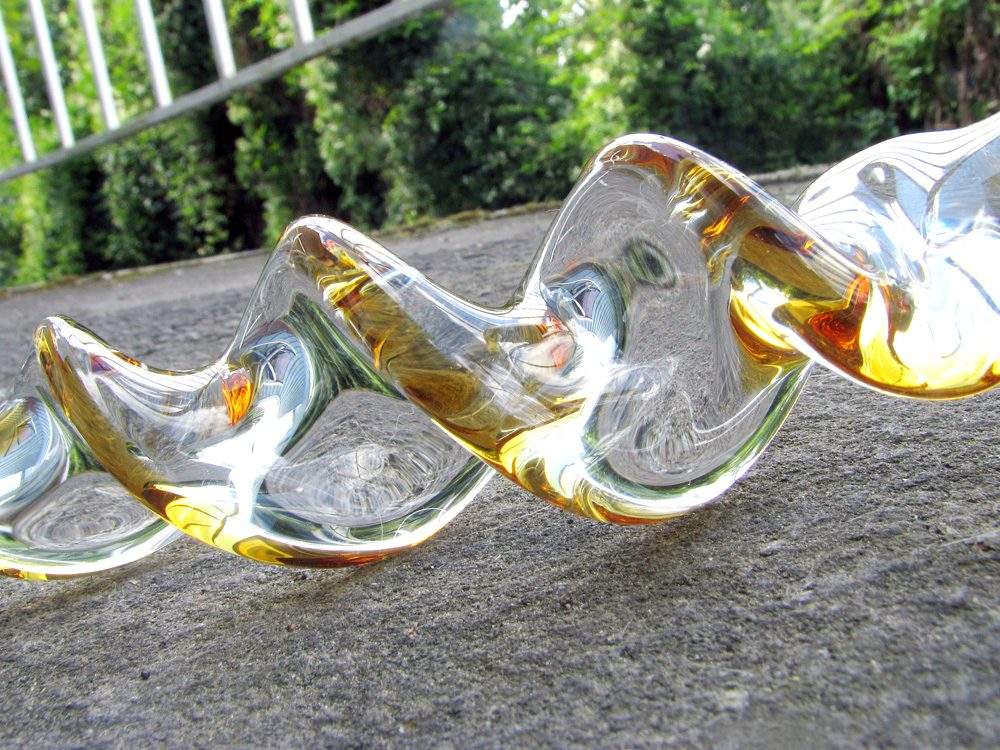 Crystal Delights Crystal Twist swirly glass dildo on my porch.