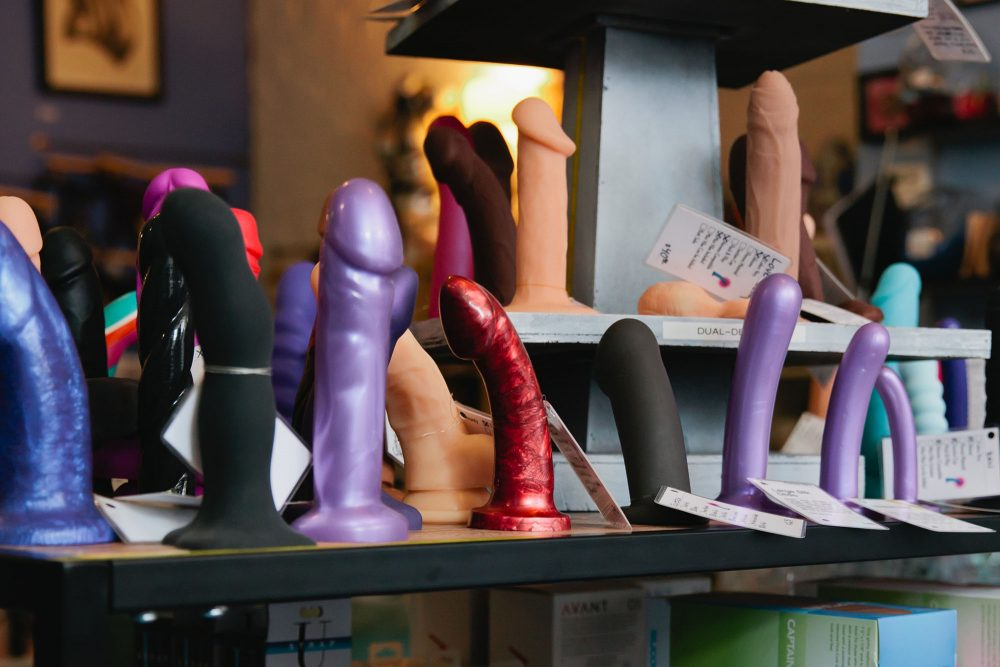 Dildos on display, courtesy of Early to Bed, one of my favorite indie sex shops.