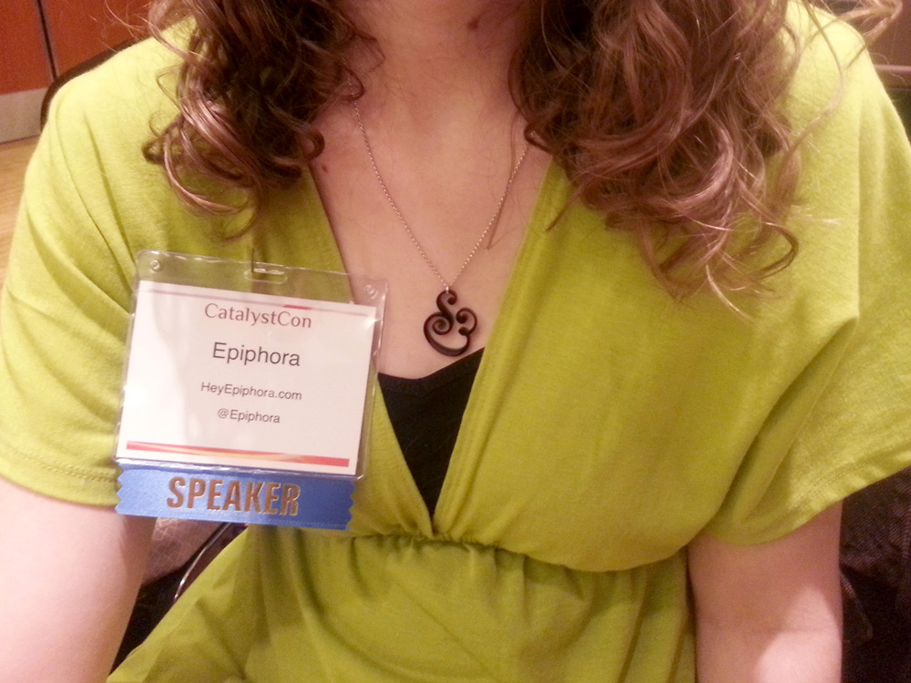 Me right before the opening keynote, being girly with a chartreuse dress and ampersand necklace.