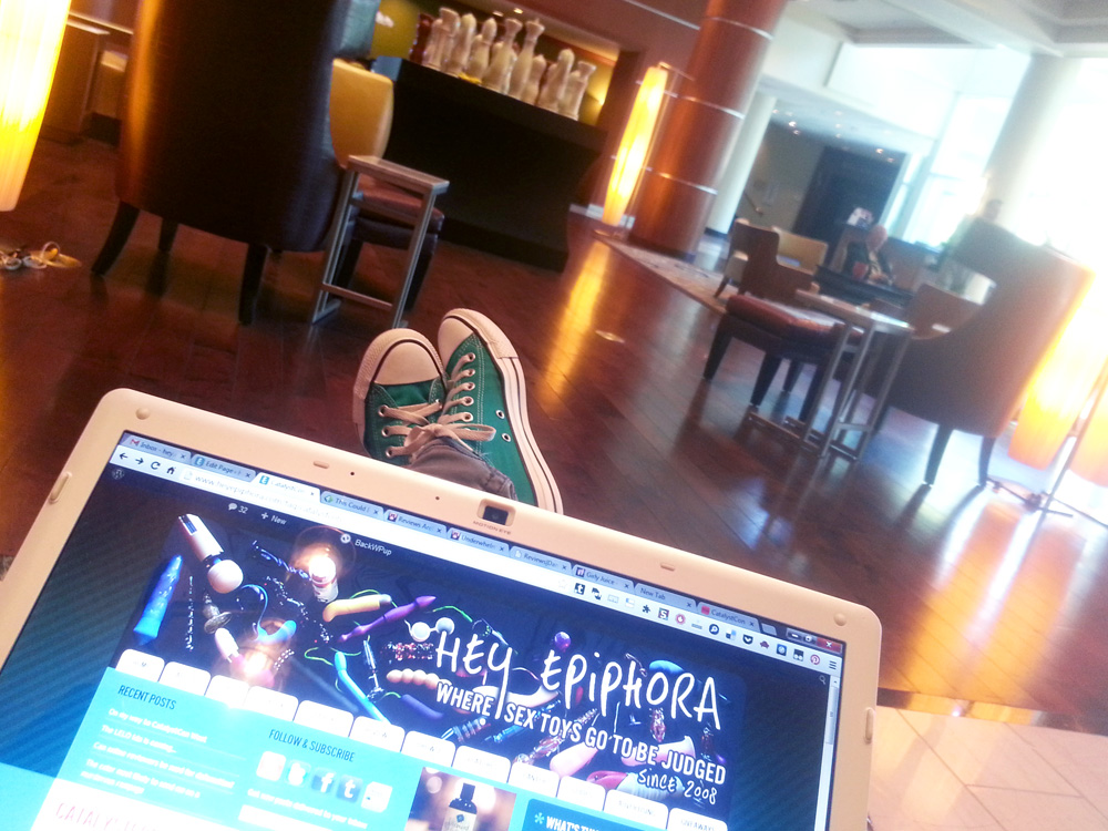 Being a boss in the Marriott lobby, with my laptop showing my website.
