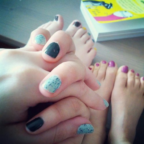 Paint ALL the nails! Aerie and I holding hands.