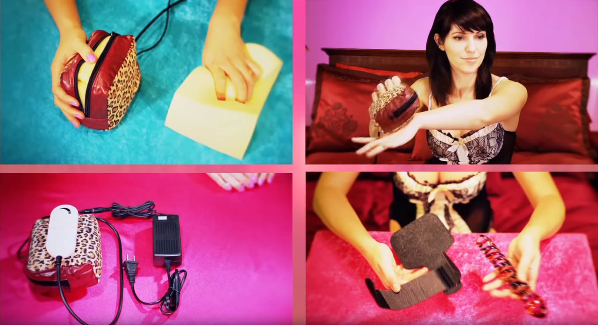 Various shots from the video showing how the leopard print case is STUFFED WITH FOAM and how you can totally strap a glass dildo to it.