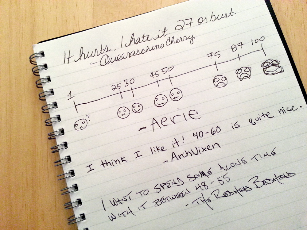 Entries in the Sybian guestbook, including a scale of emojis created by Aerie.