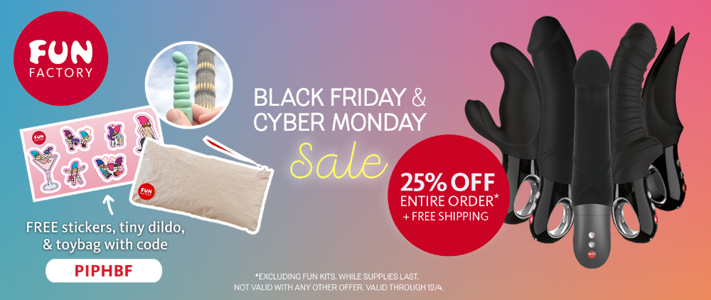 25% off everything at Fun Factory, plus free swag with orders over $129!