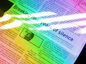 """My column in the high school paper, with the headline """"Breaking four years of silence."""" There is a rainbow gradient effect over the image."""