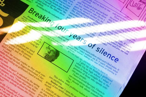 "My column in the high school paper, with the headline ""Breaking four years of silence."" There is a rainbow gradient effect over the image."