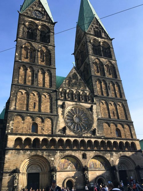 The cathedral in the Marktplatz in Bremen, Germany.