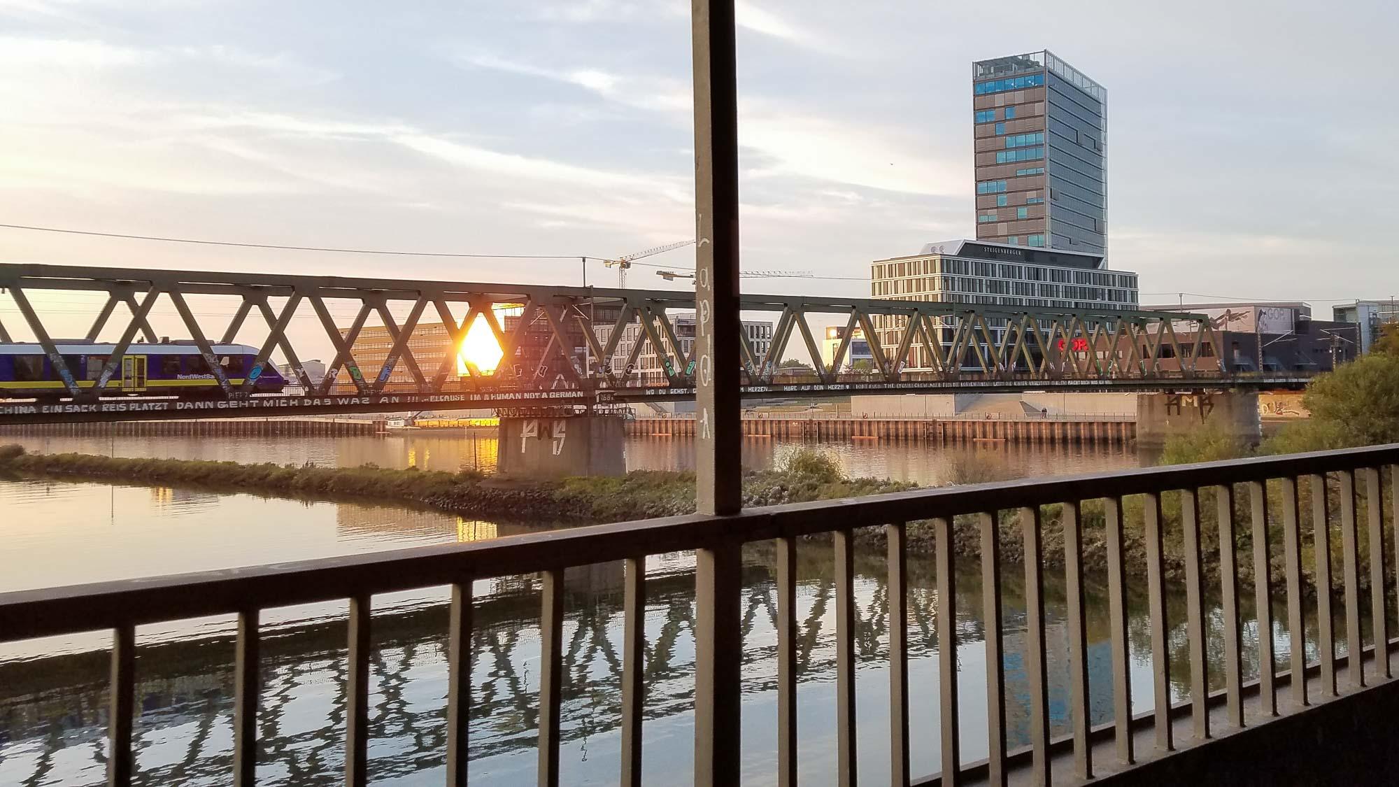 Pedestrian bridge across the Weser River in Bremen, Germany.