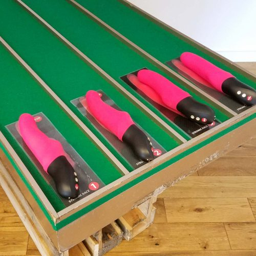 A special table for racing Stronic Pulsator sex toys at Fun Factory in Bremen, Germany.