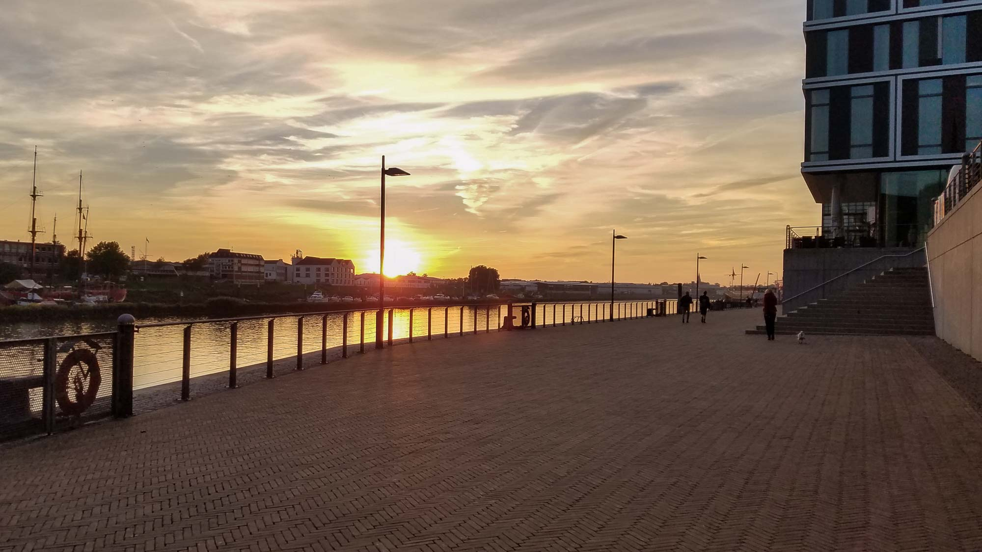 Sunset from the promenade outside the Steigenberger hotel in Bremen, Germany.