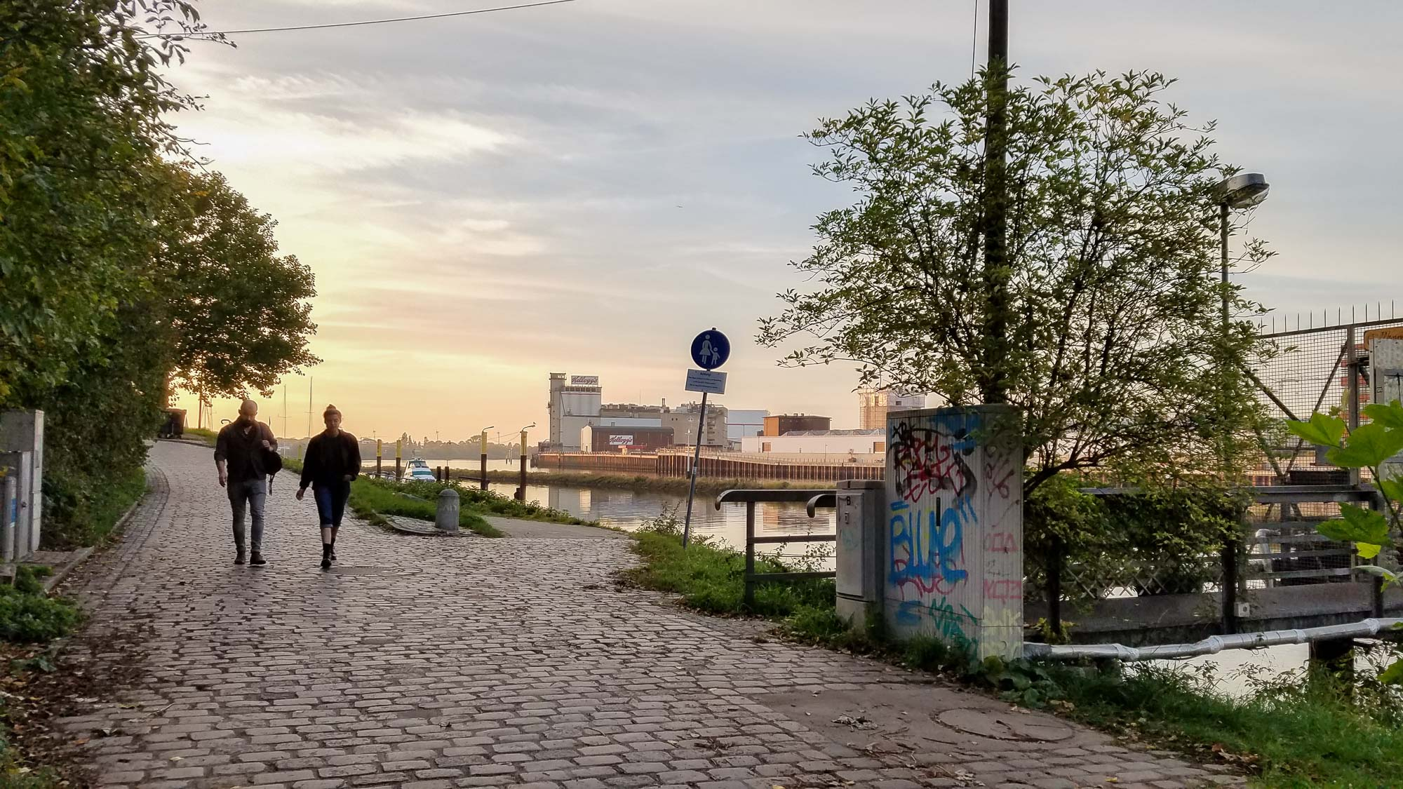 The walk back from Fun Factory in Bremen, Germany, along the Weser River.